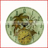 Nice palm tree custom resin round outdoor clock and thermometer