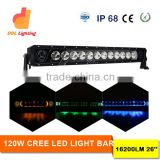 New product wholesale 120W 26inch 6500k color changing offroad led light bar halo for cars