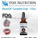 30 ml Bottle Beard Oil - Campfire Cody Scented - Private Label Beard Oil Hair and Skin Care Supplement