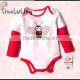 2015 new girls long sleeve ladybug baby rompers,cute animal clothes baby