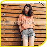 2017 women 100% cotton knit short sleeve french terry women distressed t shirt wholesale china