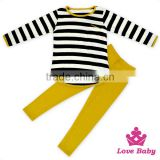 Kids Girls Fall Cotton Long Sleeve Black And White Striped Shirt And Mustard Pants Children's Boutique Clothes Wholesale Price