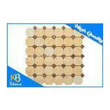 Octagon Polishing Crema Marfil Marble Tile / Kitchen Mosaic Sheets With Brown Dot