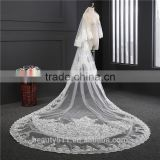 2017 wholesale new grance long lace bridal wedding veil long Tulle emboried lace bridal wedding veils HL12