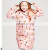 T-GC015 2016 Girls Printing Long Wild Sweet Knee Length Warm Windproof Coat