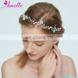 Sweet Bridal Headband Tiara Pearl Charm Centered Blue Flower Hair Vine Girls Headpiece Wedding Prom Dancing bobby Hair Accessory