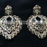 Drop Dangling Gold Plated Party Wear Earrings Set In Green Color
