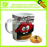 Promotional Logo Printed China Coffee Mug With Cookie Holder