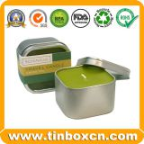Square Candle Tin Box with Transparent Window, Metal Travel Tins