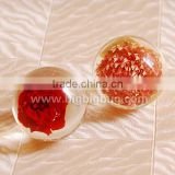 Hot selling decorative wedding crystal ball candle holder with real flowers embedded for promotional gifts