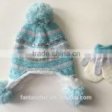 baby's fashional snow kintted jacquard winter hat mitten set