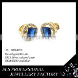 High quality hip hop jewelry gold plated earring with pin/buuterfly push back blue stone mens 925 silver earrings