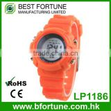 LP1186_OR Orange Colorful rubber strap, LCD display Stainless steel caseback children digital watch
