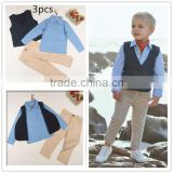 2015 New baby clothes collection top, waistcoat and pants 3pcs boy outfits set