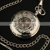 WP028 New Mens Silvered Stainless Steel Case White Dial Hand-Wing Up Mechanical Pocket Watch with Chain