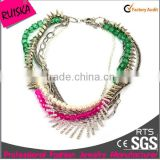 multi layers chains colorful beads pearl beads silver alloy wolf teeth with rhinestone chunky necklace