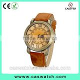 cheap products on Alibaba, retro vintage brass case watch, classic roman numerals watch face, multi-color leather watch