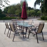 2015 wholesale garden Patio modern aluminum frame dining table and sling chair set