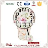 China online shopping beautiful flowers design round dial modern decorative picture wall clock