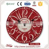 Dark red surface design simple circular writte london station quartz wall clock for restaurant