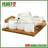 New design beautiful Set Of 4 pcs white ceramic teapot set