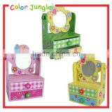 Cute jewerly organizer for kids flower decorative jewerly organizer with mirror 2 layers wooden jewelry storage box