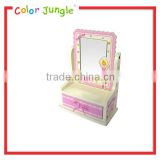 Ballerina collection wooden jewelry storage box with wavy lines mirror for kids