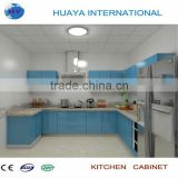 3.5*3.5m light blue lacquer high gloss finish kitchen cabinet