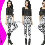 Wholesale Women Black and White Jigsaw Patches Leggings