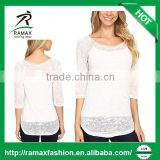 Ramax Custom Women Casual 3/4 Sleeve Round Neck Burnout T Shirts