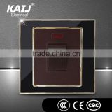 Acrylic plate wall mounted electric light multi function black color 20A one gang switch with indicator