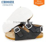High Quality Soft Touch Genuine Leather Kids Shoes Comfortable Boys Cork Footbed Sandals with Buckle