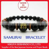 Sanada Yukimura, Samurai bracelet, black onyx 10 mm with Fire Agate and tiger-eye beads, bracelets mens, Japanese beads bracelet