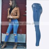2016 Summer Women Sky Blue Skinny Pencil Denim Pants Vogue Knee Holes Narrow Bottom High Waisted Ladies Latest Fashion Jeans