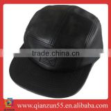 2013 new fitted fashion black leather pork pie hat bulk wholesale black leather 5 panel caps and hats