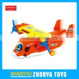 Cartoon jet plane toys bump and go musical BO plane battery operated plane toys with pilot