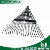 22T continous tines garden metal lawn leaf rake with chrome plated spring coil