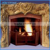 Natural stone hand carved marble fireplace mantel