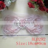 Fashion popular pretty pearl center chiffon sequin bow applique for baby dresses