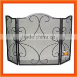 Modern Wrought Iron 3 Fold Black Fireplace Screen