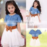 Baby Girl's Kids Children Fashion Princess Denim And Tulle Stitching Bow Dress Skirt With Belt 3-8Y SV001489
