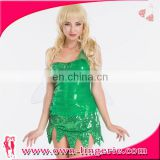Cheap china wholesale Ladies Fairytale green pixie Fancy Dress Tinkerbell SEQUINED decoration