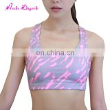 China Factory Criss Cross Double Straps Pattern Running Bra Gym