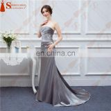 Silver Gray Bridesmaid Dresses Long Silk Satin Mermaid Shining Crystals Beaded Cheap Brides Maid Of Honor Real Photos Free Ship