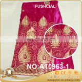 2016 african fushia embroidery velvet lace material organza lace / george