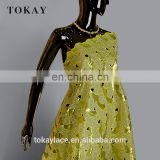 Yellow color latest design african double organza sequence lace fabric