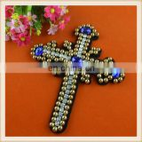 fancy beaded applique with rhinestone in latin cross motif custom make for clothing/coat
