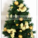 "24"" Height Green pvc christmas tree with golden flowers and balls for tabletop decoration"