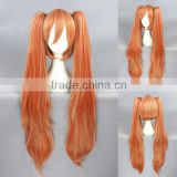 wholesale 100CM long orange mixed Lolita women synthetic hair cosplay party wig with 2 clip ponytail