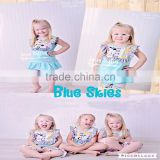 Pretty design girls clothing sets new fashion kids clothes wholesale china feather printed baby summer clothes